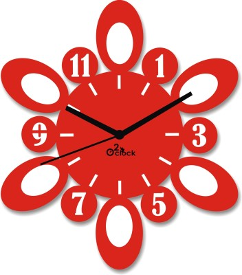 2 O'Clock Analog 1 cm X 31 cm Wall Clock(Red, Without Glass)