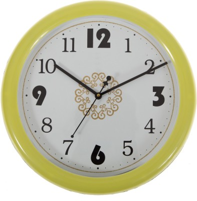 SMERA Analog Wall Clock(Yellow, With Glass) at flipkart