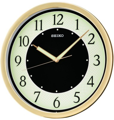Seiko Analog Wall Clock(Gold, With Glass)
