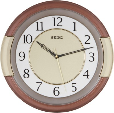 Seiko Analog Wall Clock(Brown, With Glass)  available at flipkart for Rs.2600