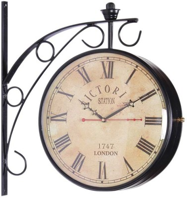 HOMECRAFTWORLD Analog 34.925 cm X 10.16 cm Wall Clock(Black, With Glass) at flipkart