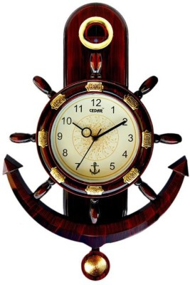 Cedar Plaza Anchor and Steering Pendulam Analog Wall Clock(Dark Wooden, With Glass)  available at flipkart for Rs.299