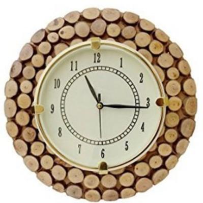 Craftatoz Analog 27 cm X 27 cm Wall Clock(Brown, With Glass)
