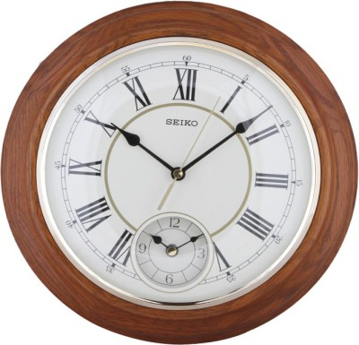 Seiko Analog 30.2 cm X 30.2 cm Wall Clock(Brown, With Glass) at flipkart