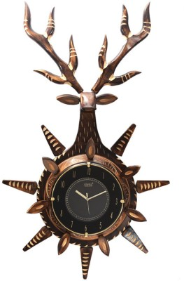 Craftatoz Analog 50 cm X 30 cm Wall Clock(Brown, With Glass)