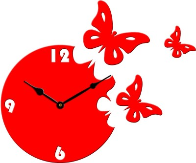 Basement Bazaar Analog Wall Clock(Red_Black, Without Glass)
