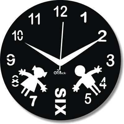 2 O'Clock Analog 31 cm X 31 cm Wall Clock(Black, Without Glass)