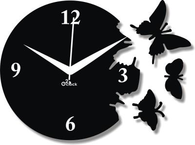 2 O'Clock Analog 1 cm X 31 cm Wall Clock(Black, Without Glass)