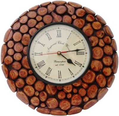 Craftatoz Analog 40 cm X 40 cm Wall Clock(Brown, With Glass)