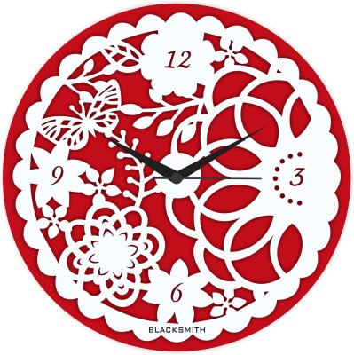 Blacksmith Analog Wall Clock(Red, Without Glass) at flipkart