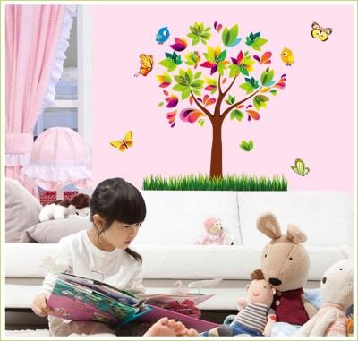 Oren Empower Colorful Decoraive Tree Large Wall Sticker(80 cm X cm 70, Multicolor)