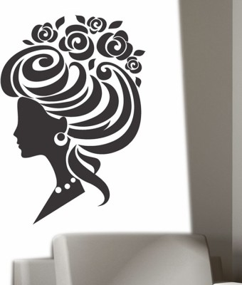 Happy walls Princess With High Bun Hairstyle With Roses Vector Art(75 cm X cm 50, Multicolor)