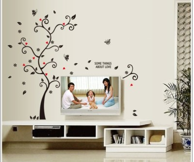 Oren Empower Picture Frame Supporting Beautiful Tree Large Wall Sticker(120 cm X cm 100, Black, Red)