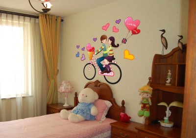 Oren Empower Sweet Romantic Couple Enjoying on Bicycle, A Heart Balloon Decorative Large Wall Sticker(62 cm X cm 80, Multicolor)