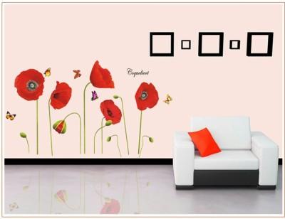 Oren Empower Poppy Plants Large Wall Sticker(65 cm X cm 115, Red)