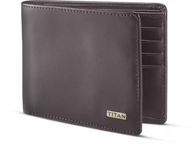 Titan Men Brown Genuine Leather Wallet(8 Card Slots)
