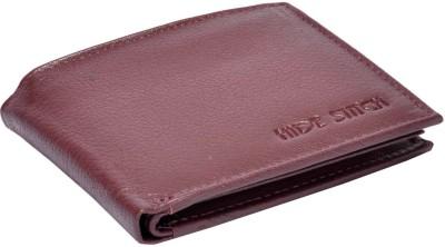 Hidestitch Men Maroon Genuine Leather Wallet 6 Card Slots