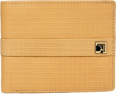 Da Milano Men Beige Genuine Leather Wallet(9 Card Slots)