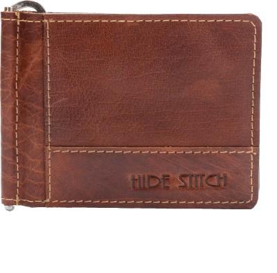 Hide Stitch Men Casual Brown Genuine Leather Money Clip 8 Card Slots