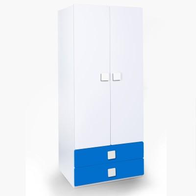 Alex Daisy Universal Engineered Wood 2 Door Wardrobe(Finish Color - Blue & White)
