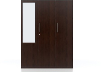 Urban Ladder Domenico Engineered Wood 3 Door Wardrobe(Finish Color - Dark Oak, Mirror Included)
