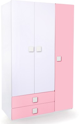 Alex Daisy Universal Engineered Wood 3 Door Wardrobe(Finish Color - Pink & White)