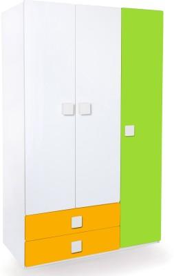 Alex Daisy Universal Engineered Wood 3 Door Wardrobe(Finish Color - White, Yellow & Green)