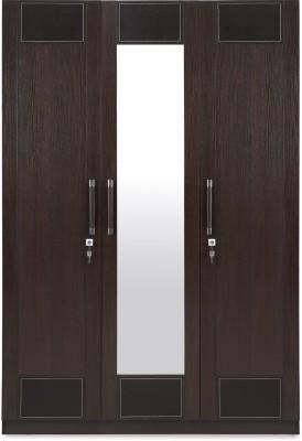 @home by Nilkamal Emirates3 Engineered Wood 3 Door Wardrobe(Finish Color - Dark Walnut, Mirror Included)