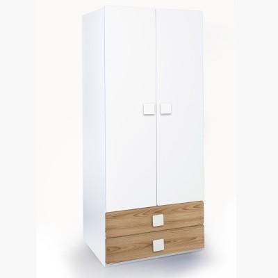 Alex Daisy Universal Engineered Wood 2 Door Wardrobe(Finish Color - Oak & White)