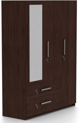 Urban Ladder Domenico Engineered Wood 3 Door Wardrobe(Finish Color - Dark Oak, Mirror Included)