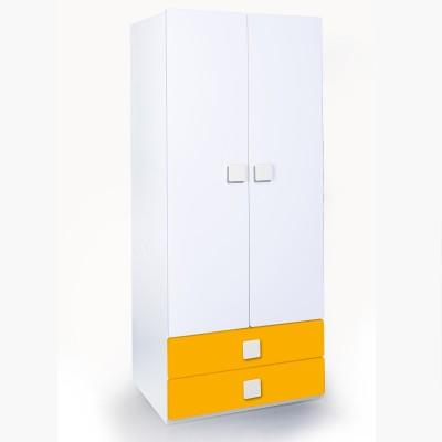 Alex Daisy Universal Engineered Wood 2 Door Wardrobe(Finish Color - White & Yellow)
