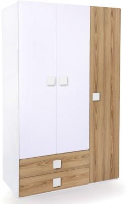 Alex Daisy Universal Engineered Wood 3 Door Wardrobe(Finish Color - Oak & White)