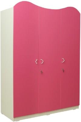 RAWAT SERIES 18 Engineered Wood 3 Door Wardrobe(Finish Color - ASIAN FROSTY WHITE CARCASE & PINK DOORS)