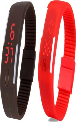 Twok Combo of Led Band Brown + Red Watch  - For Men & Women