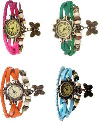 NS18 Vintage Butterfly Rakhi Combo of 4 Pink, Orange, Green And Sky Blue Watch  - For Women