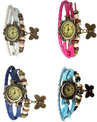 NS18 Vintage Butterfly Rakhi Combo of 4 White, Blue, Pink And Sky Blue Watch  - For Women