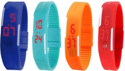 NS18 Silicone Led Magnet Band Watch Combo of 4 Blue, Sky Blue, Orange And Red Watch  - For Couple