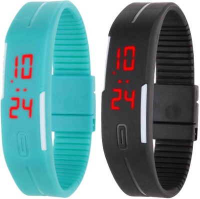 RSN Silicone Led Magnet Band Combo of 2 Sky Blue And Black Digital Watch  - For Men & Women