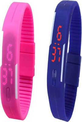 YD Combo of Led Band Pink + Blue Watch  - For Couple