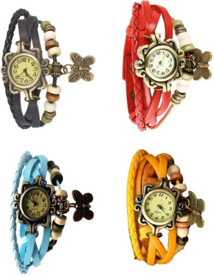 NS18 Vintage Butterfly Rakhi Combo of 4 Black, Sky Blue, Red And Yellow Watch  - For Women