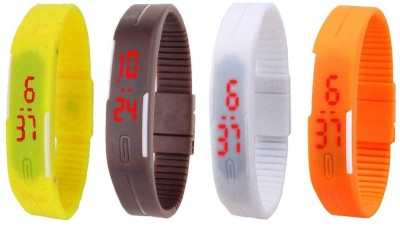 NS18 Silicone Led Magnet Band Combo of 4 Yellow, Brown, White And Orange Watch  - For Boys & Girls