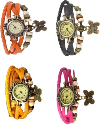 NS18 Vintage Butterfly Rakhi Combo of 4 Orange, Yellow, Black And Pink Watch  - For Women