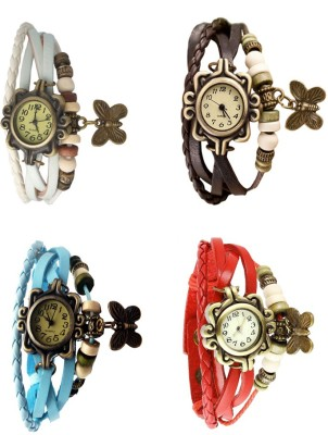 NS18 Vintage Butterfly Rakhi Combo of 4 Sky Blue, White, Red And Brown Watch  - For Women