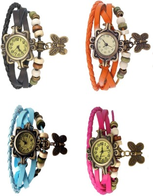 NS18 Vintage Butterfly Rakhi Combo of 4 Black, Sky Blue, Orange And Pink Watch  - For Women