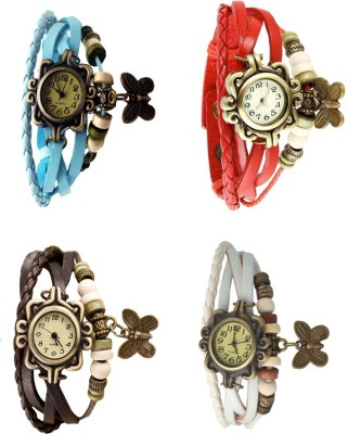 NS18 Vintage Butterfly Rakhi Combo of 4 White, Sky Blue, Brown And Red Watch  - For Women