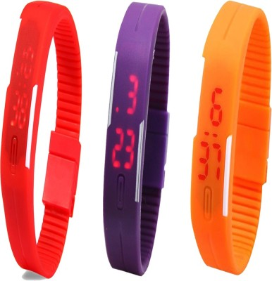 YD Combo of Led Band Red + Purple + Orange Watch  - For Couple