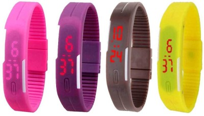 NS18 Silicone Led Magnet Band Combo of 4 Pink, Purple, Brown And Yellow Watch  - For Boys & Girls