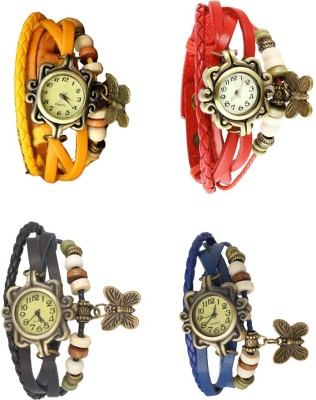 NS18 Vintage Butterfly Rakhi Combo of 4 Yellow, Blue, Black And Red Watch  - For Women