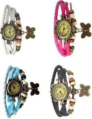 NS18 Vintage Butterfly Rakhi Combo of 4 White, Sky Blue, Pink And Black Watch  - For Women