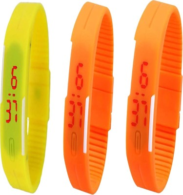 Twok Combo of Led Band Yellow + Orange + Orange Watch  - For Men & Women